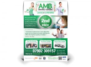 AMB Driving Instructor flyer graphic design & print by One Bright Spark of Exeter, Devon