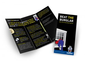 Beat the burglar flyer graphic design & print by One Bright Spark of Exeter, Devon