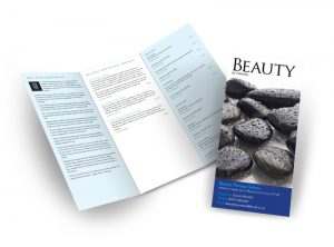 Beauty by Natasha flyer graphic design & print by One Bright Spark of Exeter, Devon