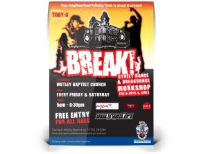 Street Dance and breakdancing in Plymouth poster graphic design & print by One Bright Spark of Exeter, Devon