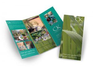CK Landscape Garden Design & creation flyer graphic design & print by One Bright Spark of Exeter, Devon