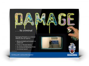 Criminal Damage poster graphic design & print by One Bright Spark of Exeter, Devon