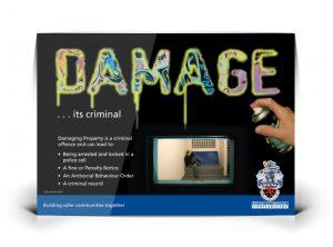 Criminal Damage poster graphic design & print by One Bright Spark of Exeter, Devon