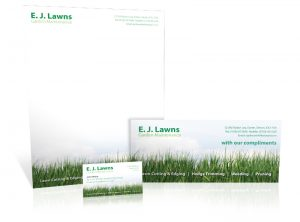 E J Lawns Garden Maintenance stationery graphic design & print by One Bright Spark of Exeter, Devon