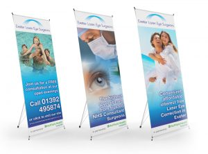 Exeter Laser Eye Surgeons display pop up banner graphic design & print by One Bright Spark of Exeter, Devon