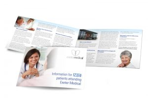 Exeter Medical NHS patients booklet graphic design & print by One Bright Spark of Exeter, Devon