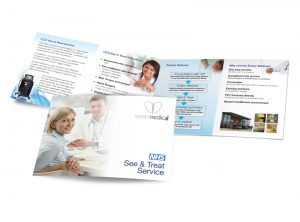 Exeter Medical NHS See & treat booklet graphic design & print by One Bright Spark of Exeter, Devon