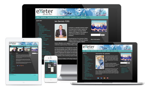 Exeter Specialist Clinics website, web design & development by Exeter's One Bright Spark