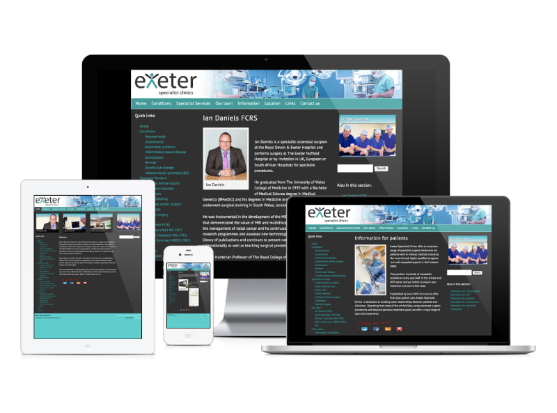 Exeter Specialist Clinics website