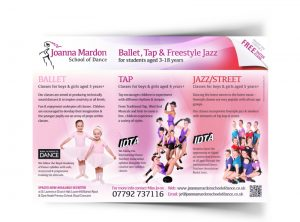 Joanna Mardon School of Dance flyer graphic design & print by One Bright Spark of Exeter, Devon