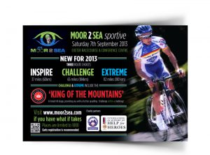 Moor 2 Sea Cycling Sportive flyer graphic design & print by One Bright Spark of Exeter, Devon