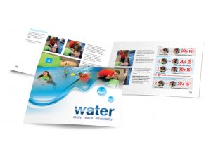 Moorland First Aid water safety booklet graphic design & print by One Bright Spark of Exeter, Devon