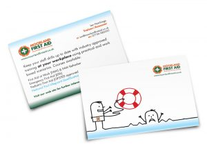 Moorland First Aid postcard graphic design & print by One Bright Spark of Exeter, Devon