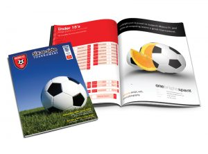 Moors Porto Tiverton football programme graphic design & print by One Bright Spark of Exeter, Devon