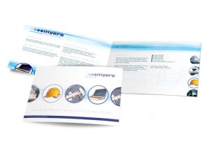Myers project co-ordinator leaflet graphic design & print by One Bright Spark of Exeter, Devon