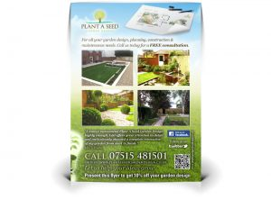 Plant A Seed Garden Design flyer graphic design & print by One Bright Spark of Exeter, Devon