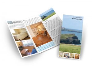 Porth Apartments in Cornwall flyer graphic design & print by One Bright Spark of Exeter, Devon