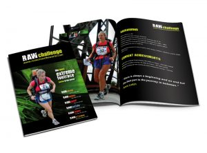 RAW marathon challenge booklet graphic design & print by One Bright Spark of Exeter, Devon