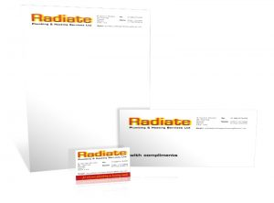Radiate Plumber stationery graphic design & print by One Bright Spark of Exeter, Devon