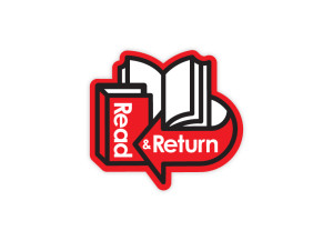 Read & Return logo brand Identity by One Bright Spark of Exeter, Devon