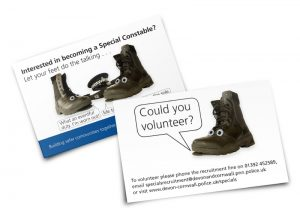 Special Constabulary - Could you Volunteer postcard graphic design & print by One Bright Spark of Exeter, Devon