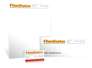 Radiate Plumbing stationery graphic design by Exeter based One Bright Spark