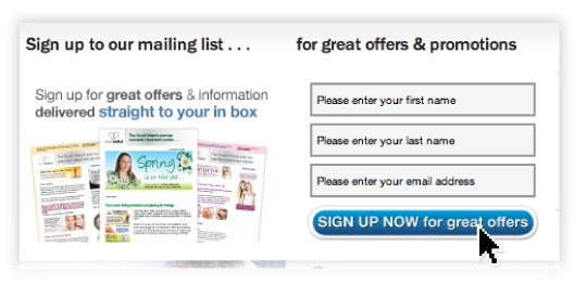 integrate sign up forms for your customer database